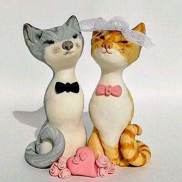 Свадебный салон ручной работы. Ярмарка Мастеров - ручная работа Коты влюбленные фигурка для свадебного торта по фото вашего питомца. Handmade.