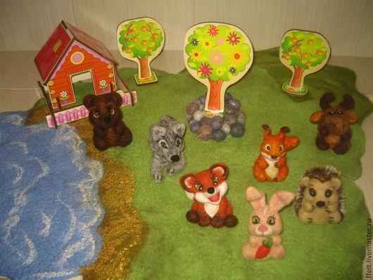 Сказочные персонажи ручной работы. Ярмарка Мастеров - ручная работа. Купить Лесные Жители - пальчиковые игрушки. Handmade. Волк, лисенок