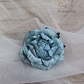 Украшения handmade. Livemaster - original item Blue rose leather brooch. Handmade.