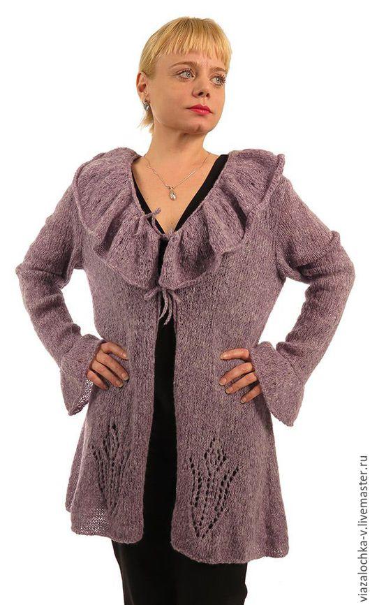 Верхняя одежда ручной работы. Ярмарка Мастеров - ручная работа. Купить Пальто-кардиган с воланами. Handmade. Бледно-сиреневый
