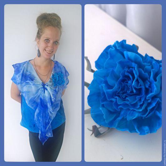 """Блузки ручной работы. Ярмарка Мастеров - ручная работа. Купить Авторская блузка """"Butterfly valley"""". Handmade. Голубой, морская волна"""