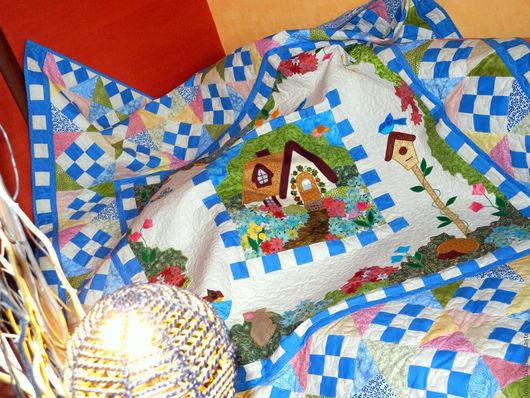 Пледы и одеяла ручной работы. Ярмарка Мастеров - ручная работа. Купить детское лоскутное покрывало ДОМ, ГДЕ ЖИВЕТ СКАЗКА плед детский. Handmade.