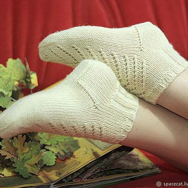 Аксессуары ручной работы. Ярмарка Мастеров - ручная работа Носочки вязаные ажурные Уютные носки топленое молоко. Handmade.