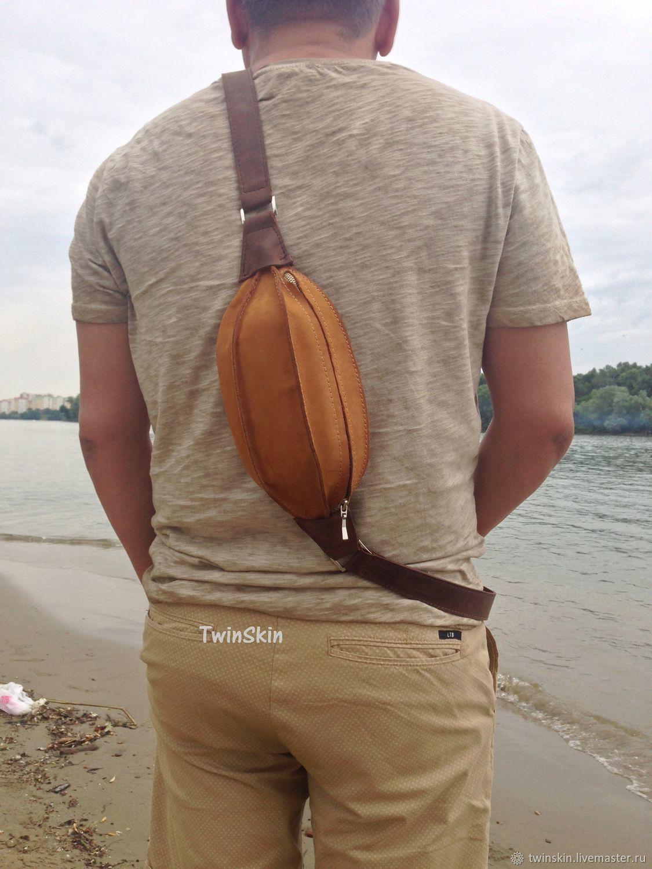 Поясная сумка Регби, барсетка мужская кожаная, бежевый, Поясная сумка, Краснодар,  Фото №1