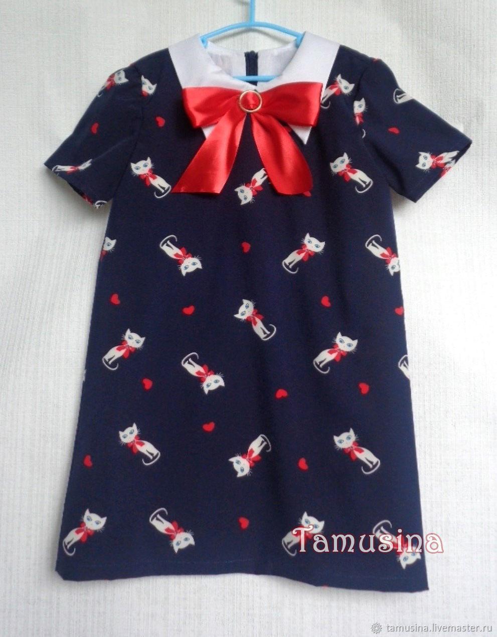 Одежда для девочек, ручной работы. Ярмарка Мастеров - ручная работа. Купить Платье для девочки Кошка с бантом. Handmade. Кошки