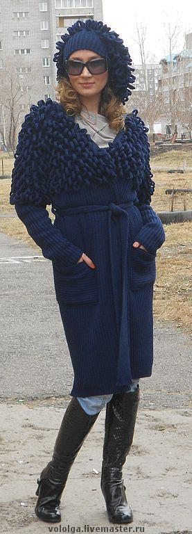 Верхняя одежда ручной работы. Ярмарка Мастеров - ручная работа. Купить Пальто вязаное (по мотивам работ Сони Рикель). Handmade.