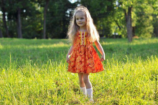 """Одежда для девочек, ручной работы. Ярмарка Мастеров - ручная работа. Купить Платье для девочки """"Апельсиновый фреш"""". Handmade. Платье для девочки"""