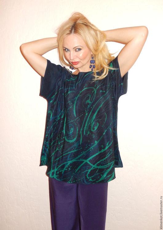 Блузки ручной работы. Ярмарка Мастеров - ручная работа. Купить блуза-кимоно -Изумрудная ночь. Handmade. Тёмно-синий, Праздник