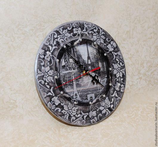 Прихожая ручной работы. Ярмарка Мастеров - ручная работа. Купить Комплект Часы и ключница. Handmade. Темно-серый, ключница настенная