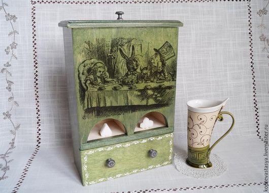 """Кухня ручной работы. Ярмарка Мастеров - ручная работа. Купить Чайный комод """"Алиса Сэра Джона Тенниела"""". Handmade. Зеленый"""