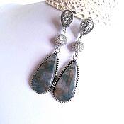 Украшения handmade. Livemaster - original item Long earrings with Moss Agate. Handmade.