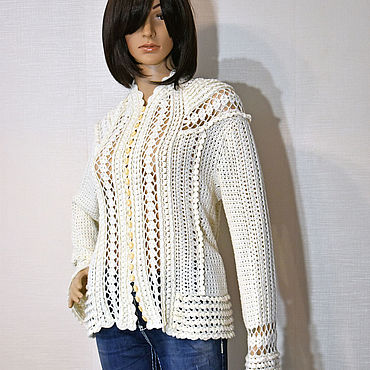 Clothing. Livemaster - original item Crochet Madison cardigan in cashmere with silk.. Handmade.