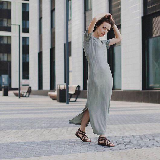 Платья ручной работы. Ярмарка Мастеров - ручная работа. Купить Трикотажное платье (олива). Handmade. Платье в пол, платье по фигуре