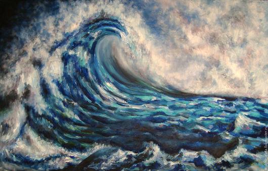 Пейзаж ручной работы. Ярмарка Мастеров - ручная работа. Купить Стихия. Handmade. Синий, море живопись, волна, шторм, стихия