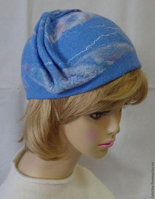 """Шляпы ручной работы. Ярмарка Мастеров - ручная работа. Купить Шляпка """" Небеса"""".. Handmade. Голубой, шерсть для валяния"""