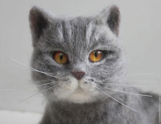 Игрушки животные, ручной работы. Ярмарка Мастеров - ручная работа. Купить Шотландский кот, кошка из шерсти. Handmade. Серый