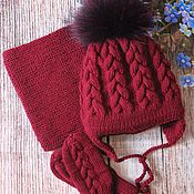 Работы для детей, handmade. Livemaster - original item Knit kit. Knitted beanie. Knitted Snood. knitted mittens.. Handmade.