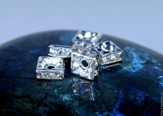 Бусины разделители квадрат- `Серебро`