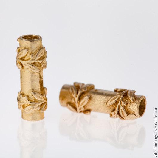 Для украшений ручной работы. Ярмарка Мастеров - ручная работа. Купить 6шт Трубочки латунные спейсеры для шнуров лент 8227BR. Handmade.