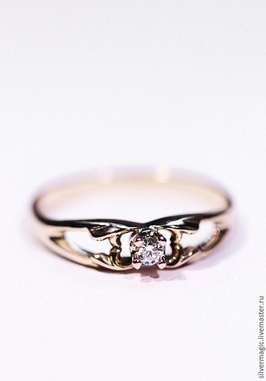 Кольца ручной работы. Ярмарка Мастеров - ручная работа. Купить Золотое кольцо с бриллиантом.. Handmade. Золотое кольцо, подарок девушке