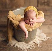 Работы для детей, handmade. Livemaster - original item Yellow lace hat for newborn photo shoot. Handmade.