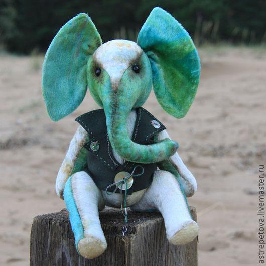 Мишки Тедди ручной работы. Ярмарка Мастеров - ручная работа. Купить слон Елисей. Handmade. Морская волна, плюш винтажный