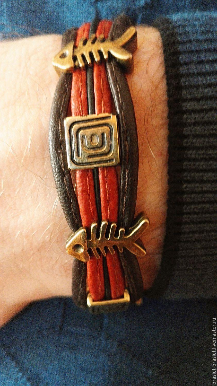 браслет из кожи Три пескаря