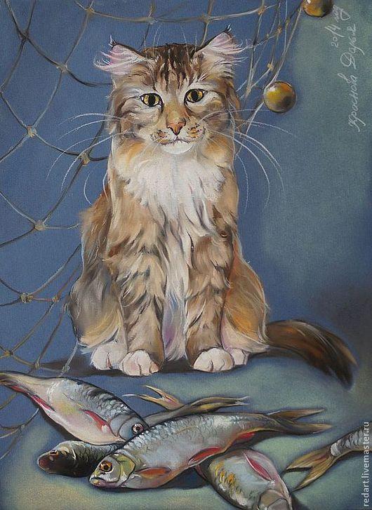 Животные ручной работы. Ярмарка Мастеров - ручная работа. Купить Сложный выбор.. Handmade. Золотой, рыба, кошка, рыбалка, картина