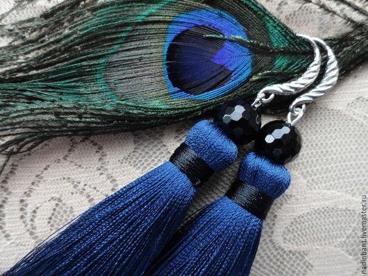 """Серьги ручной работы. Ярмарка Мастеров - ручная работа. Купить Серьги кисти """"Идеал"""" с черным Агатом. Handmade. Синие серьги"""
