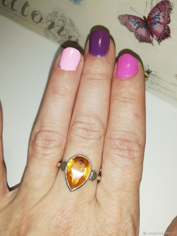 Кольцо с натуральным цитрином серебро 925, Кольца, Москва,  Фото №1