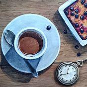 Картины и панно ручной работы. Ярмарка Мастеров - ручная работа Натюрморт с кофе и часами. Handmade.