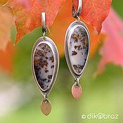 Украшения handmade. Livemaster - original item Silver Leaf Fall earrings, landscape agate, brass, copper. Handmade.
