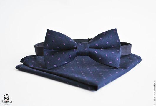 Галстуки, бабочки ручной работы. Ярмарка Мастеров - ручная работа. Купить Бабочка и платок Мисье / темно синий галстук бабочка, нагрудный платок. Handmade.