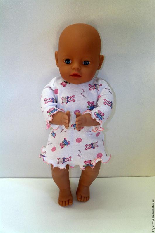 Одежда для кукол ручной работы. Ярмарка Мастеров - ручная работа. Купить Ночнушка для куклы Беби Бон. Handmade. Розовый