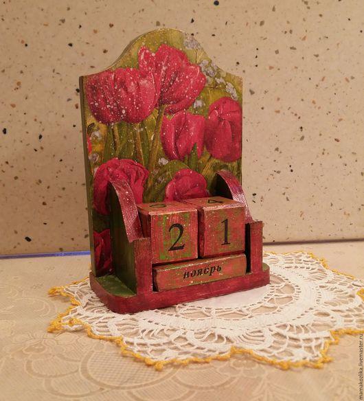 """Календари ручной работы. Ярмарка Мастеров - ручная работа. Купить Вечный календарь """"Тюльпаны"""".. Handmade. Ярко-красный"""