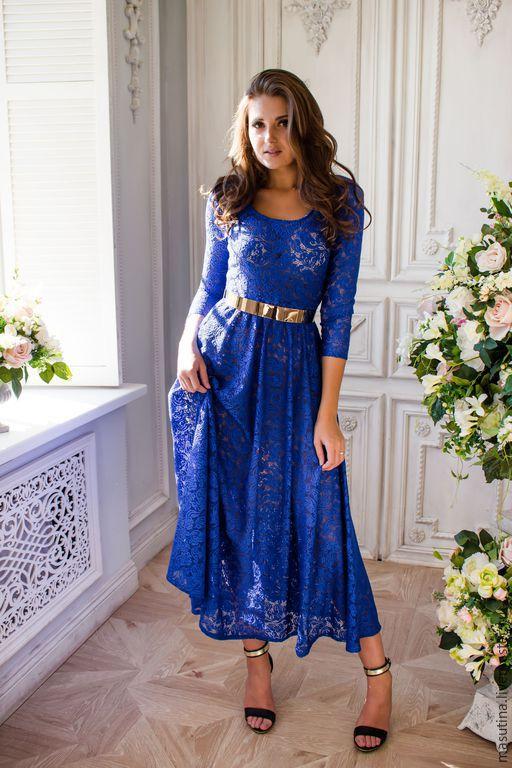 """Платья ручной работы. Ярмарка Мастеров - ручная работа. Купить Платье """"Blue color"""". Handmade. Синий, гипюр"""