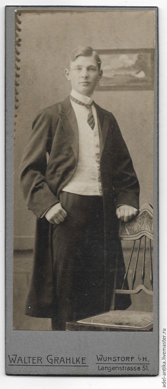 Винтаж: Старинная фотография. Студент, , Карлстад, Фото №1