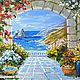 """Пейзаж ручной работы. Ярмарка Мастеров - ручная работа. Купить """"Мечты о Средиземном"""" - картина маслом с морем. Handmade. Голубой, горы"""