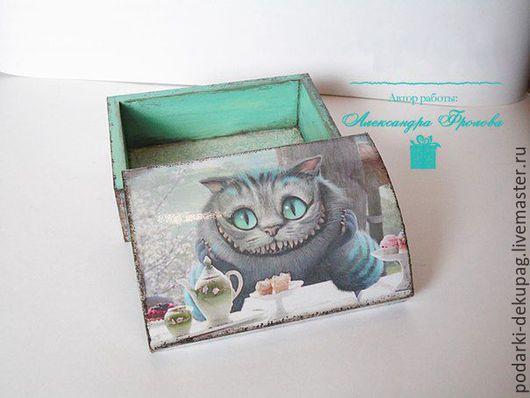 бирюзовый шкатулка Декупаж чеширский кот под старину