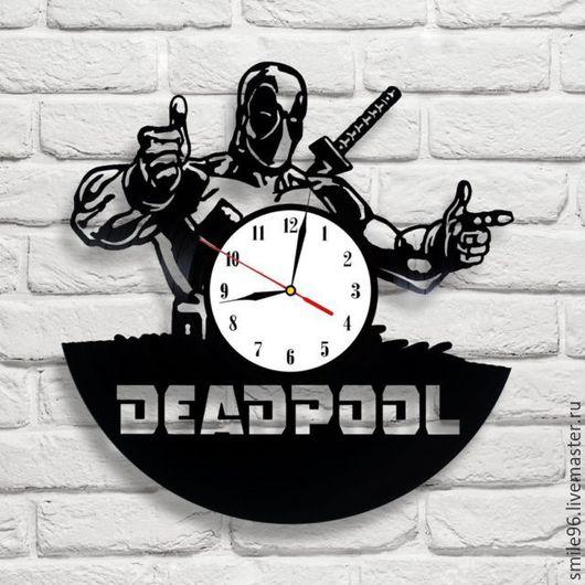 """Часы для дома ручной работы. Ярмарка Мастеров - ручная работа. Купить Часы из пластинки """"DeadPool"""". Handmade. Комбинированный, deadpool, часы"""