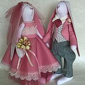Мягкие игрушки ручной работы. Ярмарка Мастеров - ручная работа Свадебные зайки тильда. Handmade.
