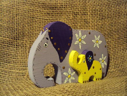 Слон-слонёнок пазл, деревянная игрушка ручной работы, декорированный.