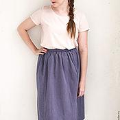 Одежда ручной работы. Ярмарка Мастеров - ручная работа Полосатая летняя юбка из сине-розового плотного хлопка. Handmade.