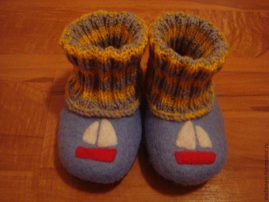 """Обувь ручной работы. Ярмарка Мастеров - ручная работа. Купить Тапочки детские из шерсти """"Кораблики"""". Handmade. Синий, обувь для детей"""
