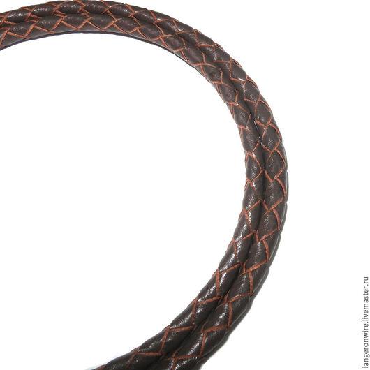 Для украшений ручной работы. Ярмарка Мастеров - ручная работа. Купить Шнур кожаный плетеный 3,0 мм. Цвет - коричневый. Handmade.