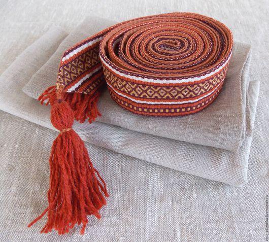 Этническая одежда ручной работы. Ярмарка Мастеров - ручная работа. Купить Пояс длинный двухсторонний,с кистями. Handmade. Рыжий