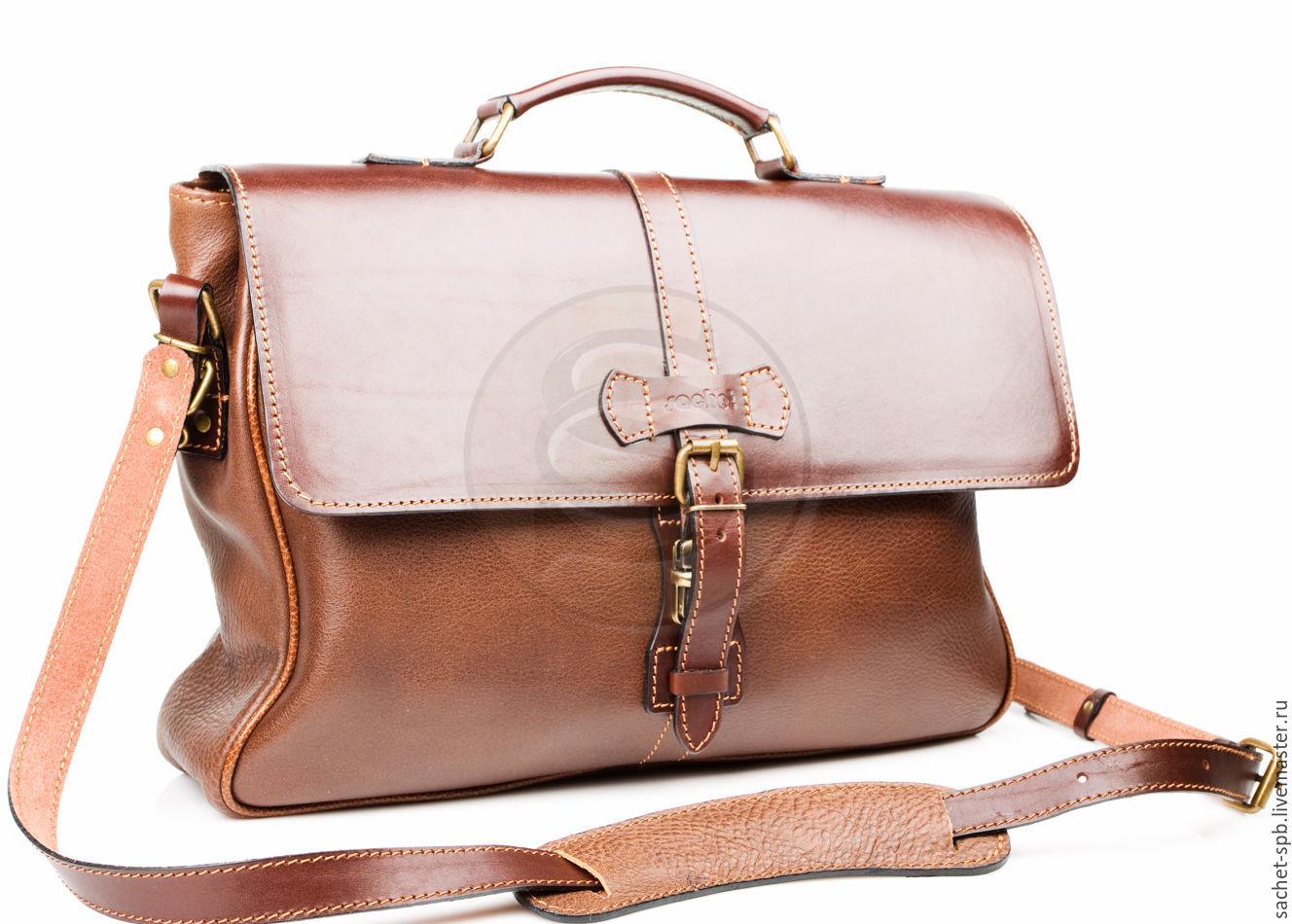 Men's leather briefcase 'Oxford' brown, Men\'s bag, St. Petersburg,  Фото №1
