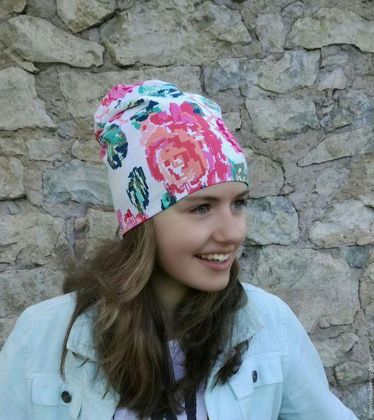 Шапки ручной работы. Ярмарка Мастеров - ручная работа. Купить Pixel Rose Beanie Hat. Handmade. Комбинированный, хлопок с эластаном