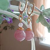 Украшения handmade. Livemaster - original item Earrings with rose quartz class AA in 925 silver in gold.. Handmade.