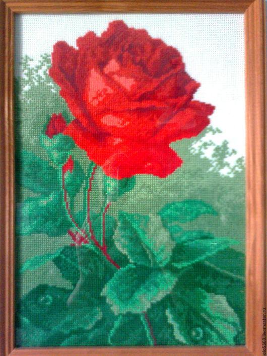 Картины цветов ручной работы. Ярмарка Мастеров - ручная работа. Купить Роза. Handmade. Вышивка цветов, цветы, розы, комбинированный
